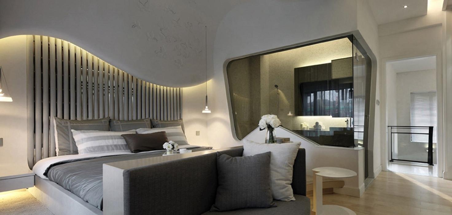 后现代风格卧室背景墙装饰案例图